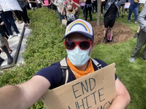 Photo of Jason at a protest