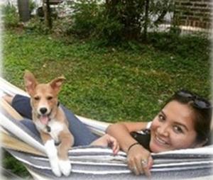 Jasmine Grika and dog